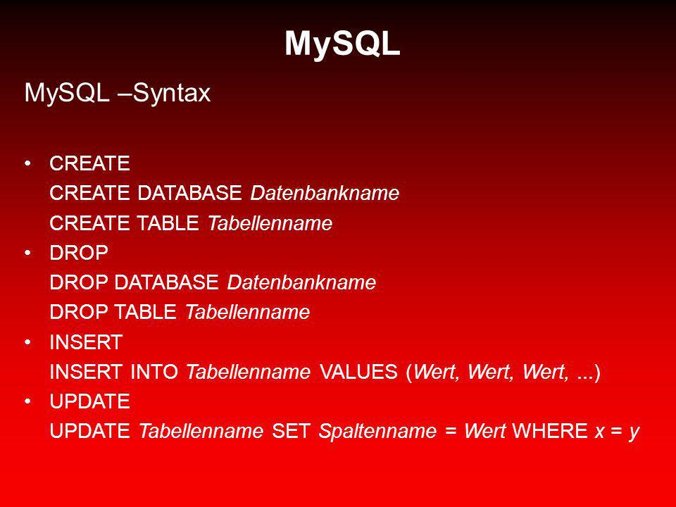 MySQL MySQL –Syntax CREATE CREATE DATABASE Datenbankname