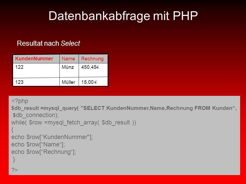 Datenbankabfrage mit PHP