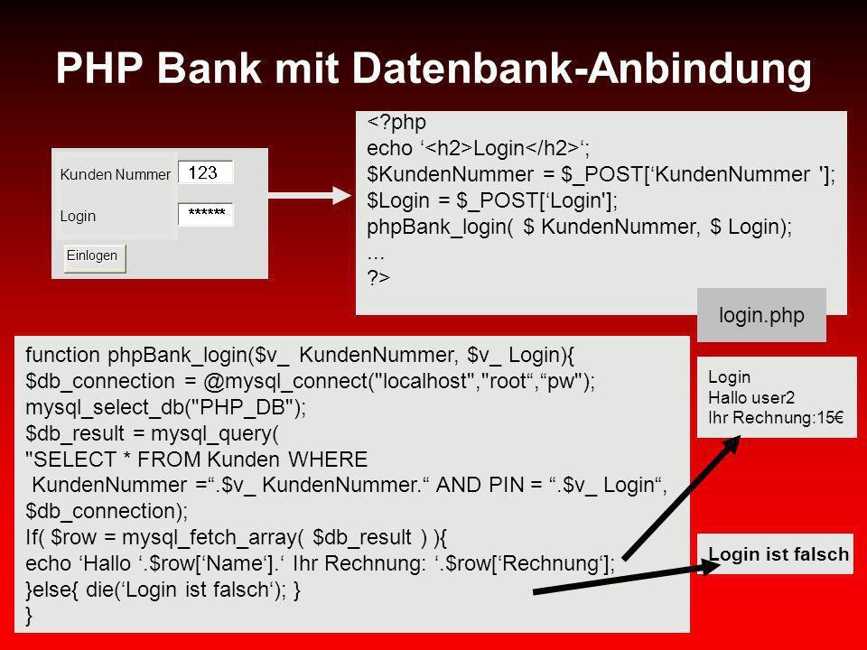 PHP Bank mit Datenbank-Anbindung