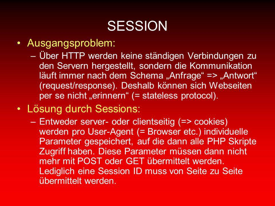 SESSION Ausgangsproblem: Lösung durch Sessions:
