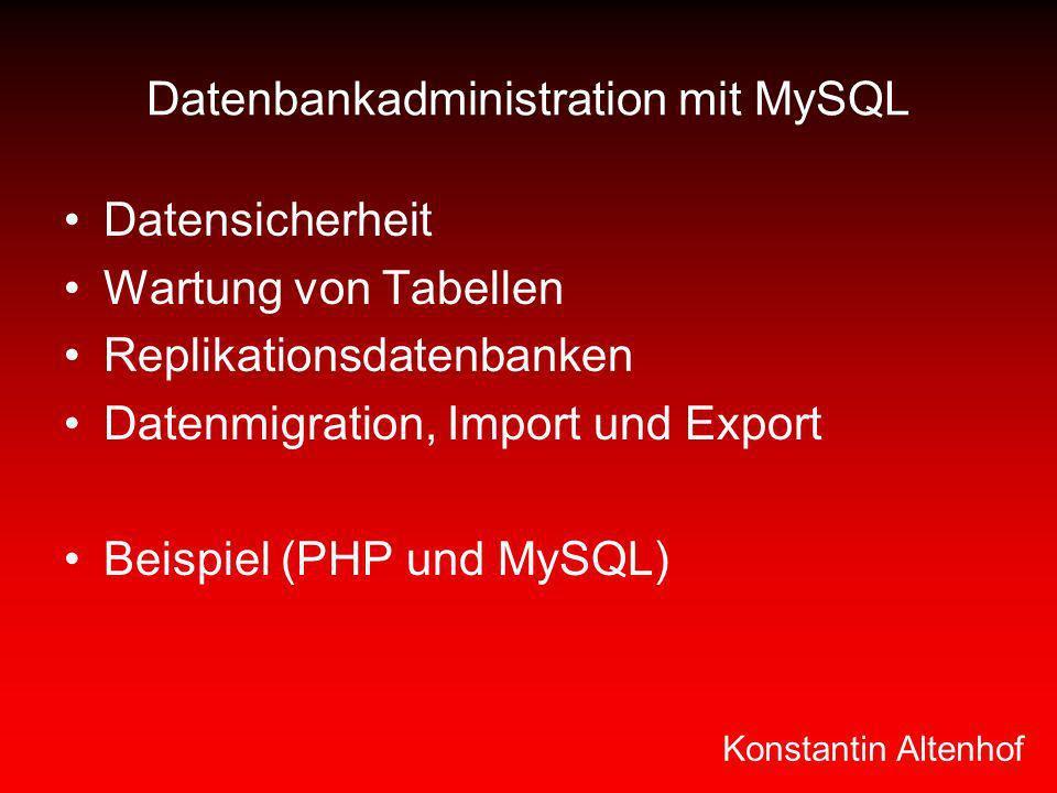Datenbankadministration mit MySQL