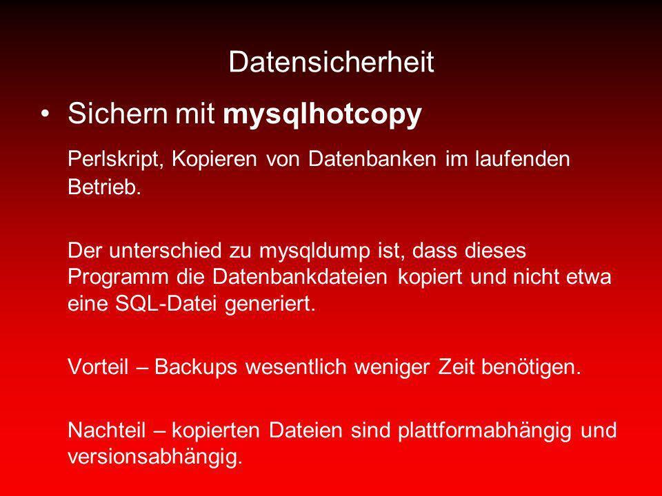 Sichern mit mysqlhotcopy