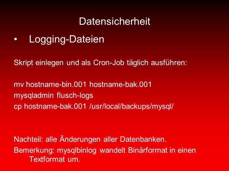 Datensicherheit Logging-Dateien