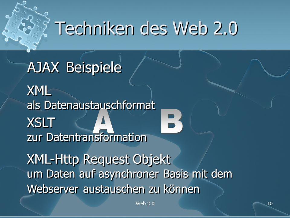 Techniken des Web 2.0 AJAX Beispiele A B XML XSLT