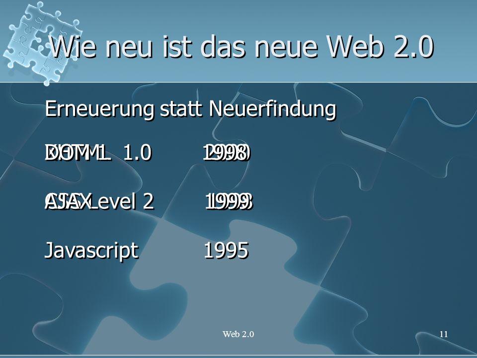 Wie neu ist das neue Web 2.0 Erneuerung statt Neuerfindung DOM 1 1998