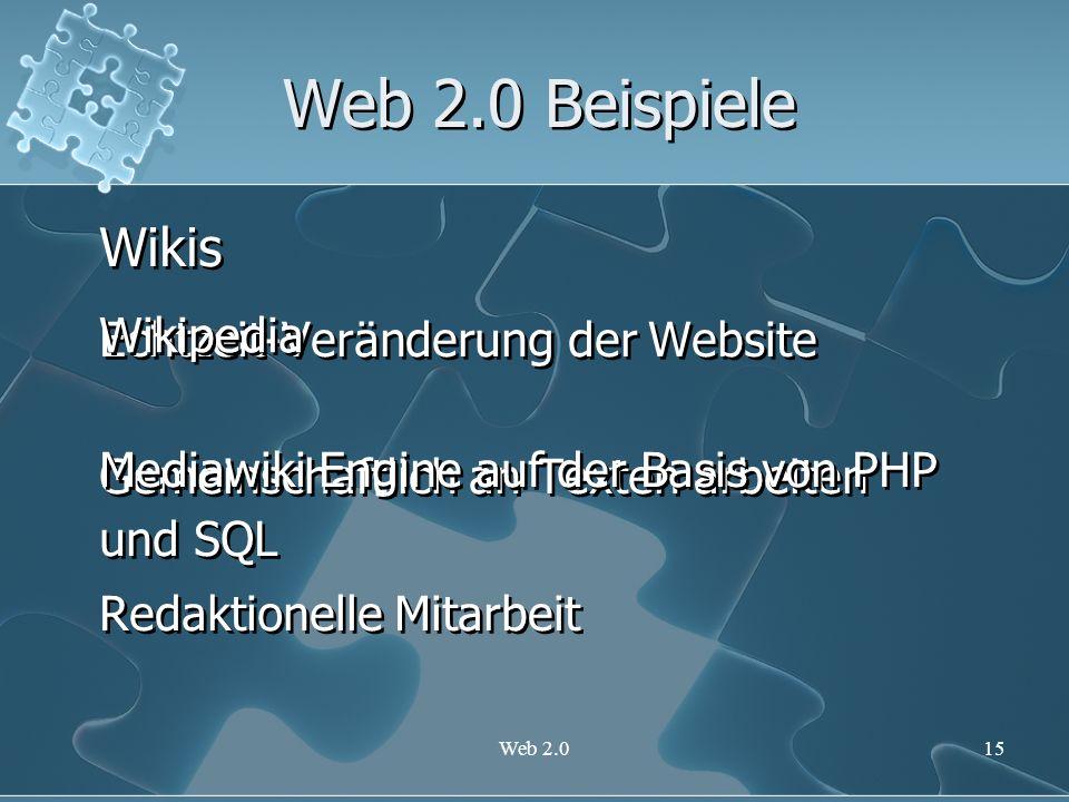 Web 2.0 Beispiele Wikis Echtzeit-Veränderung der Website Wikipedia