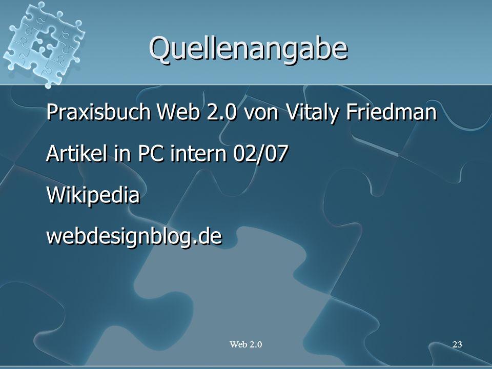 Quellenangabe Praxisbuch Web 2.0 von Vitaly Friedman