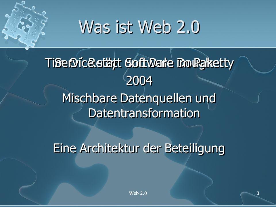 Was ist Web 2.0 Service statt Software im Paket
