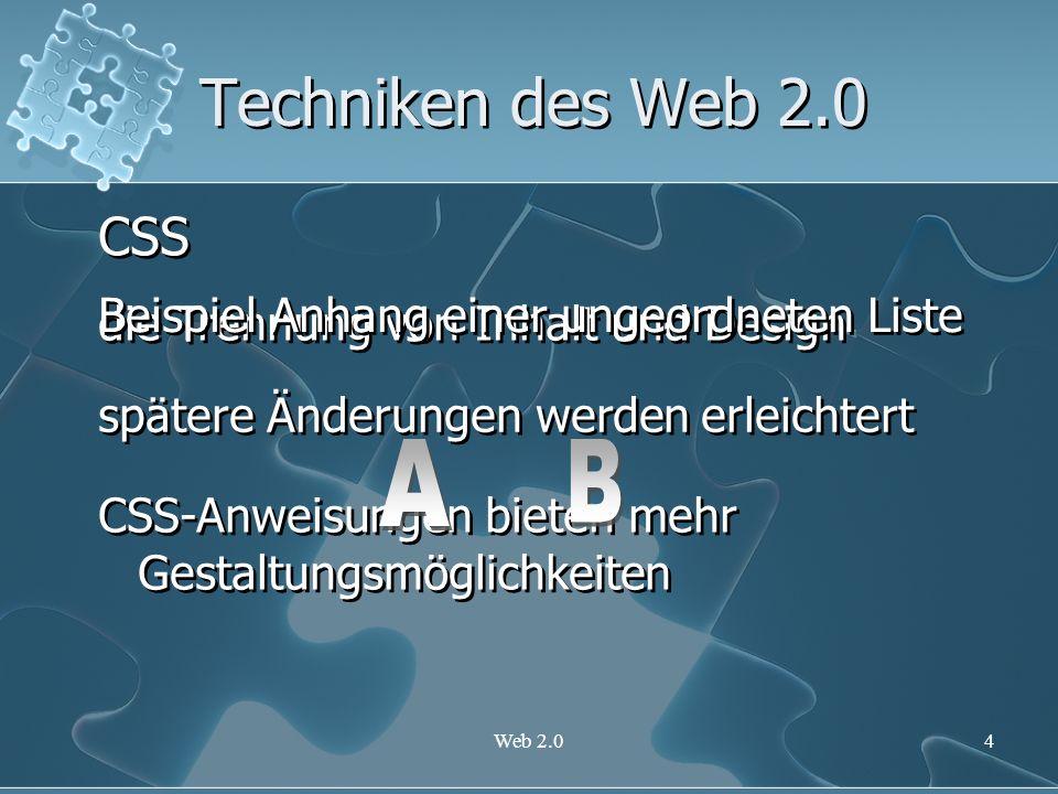 Techniken des Web 2.0 CSS A B Beispiel Anhang einer ungeordneten Liste