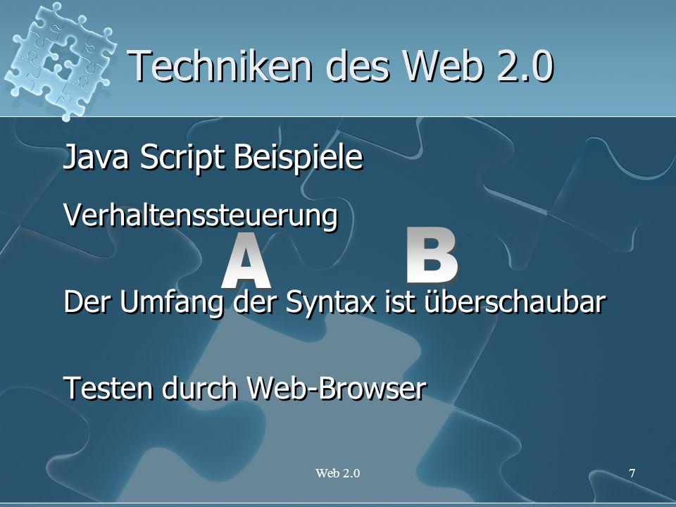 Techniken des Web 2.0 Java Script Beispiele B A Verhaltenssteuerung