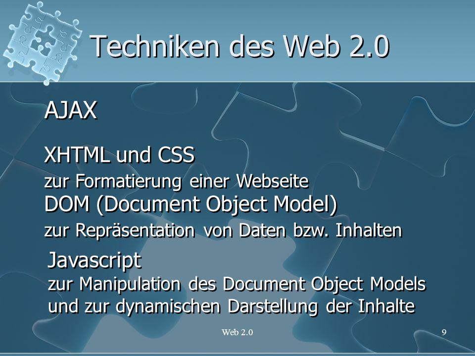 Techniken des Web 2.0 AJAX XHTML und CSS DOM (Document Object Model)