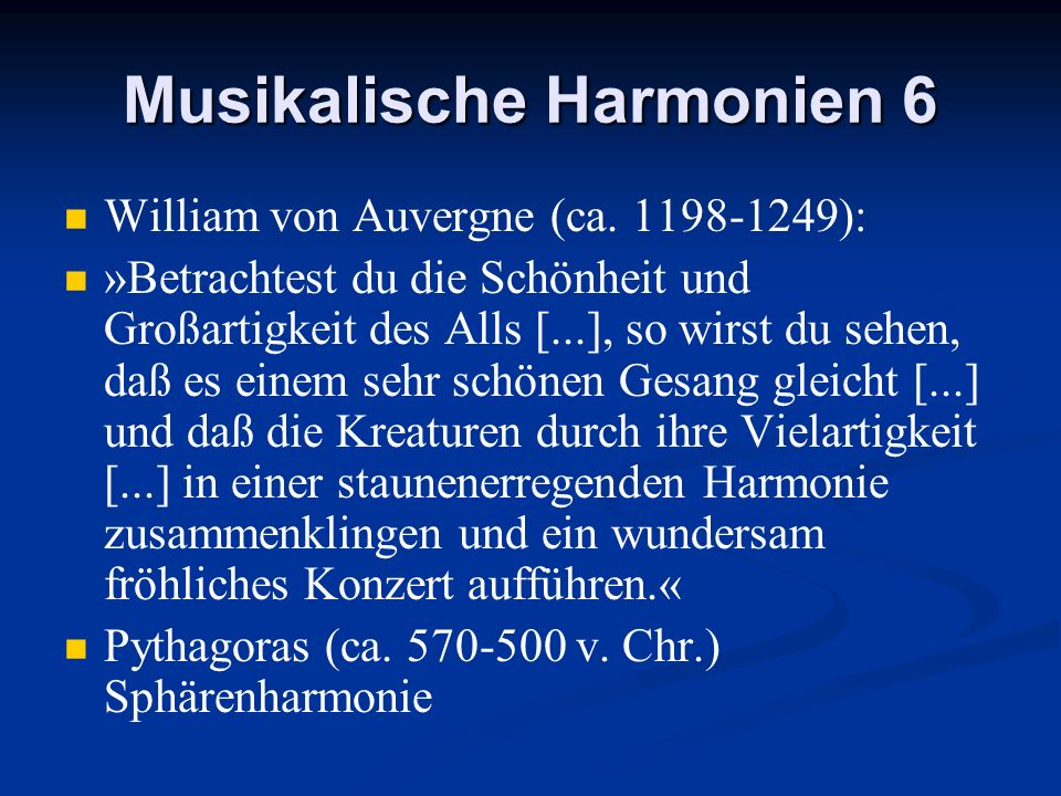 Musikalische Harmonien 6