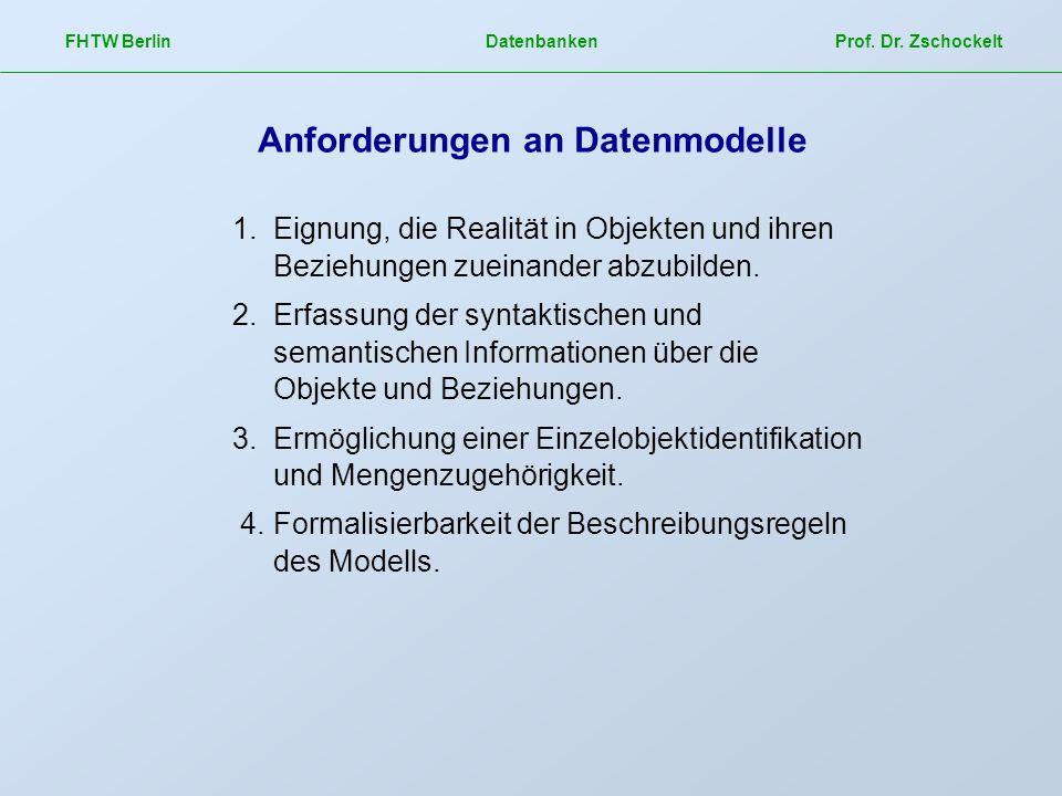 Anforderungen an Datenmodelle