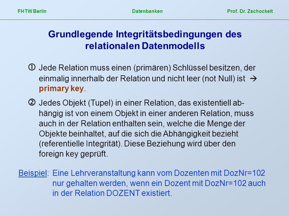 Grundlegende Integritätsbedingungen des relationalen Datenmodells