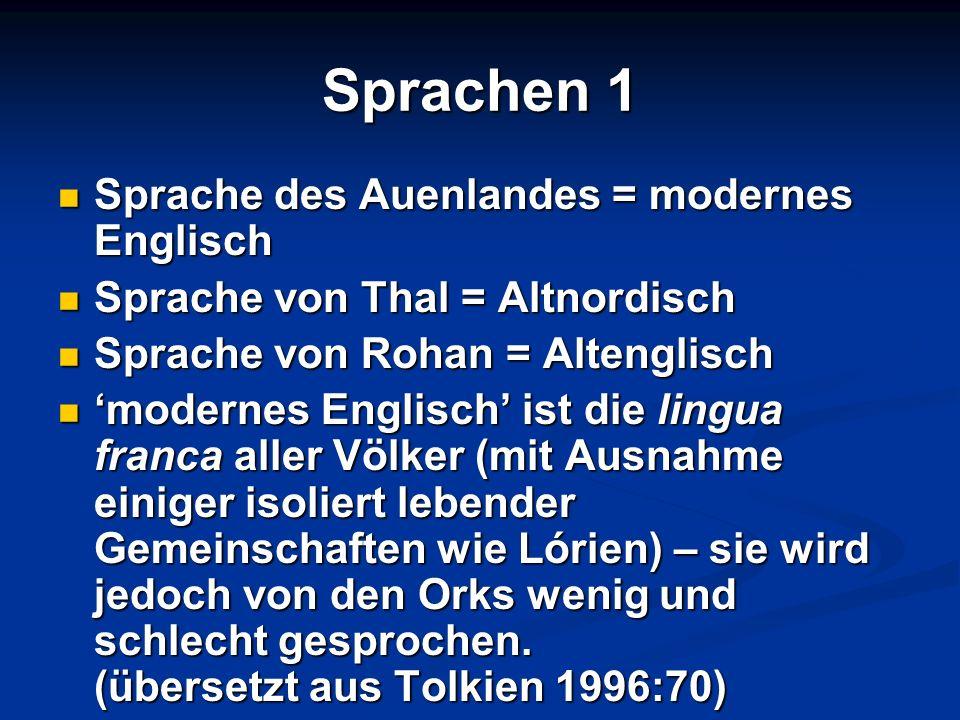 Sprachen 1 Sprache des Auenlandes = modernes Englisch