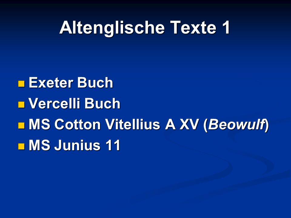 Altenglische Texte 1 Exeter Buch Vercelli Buch