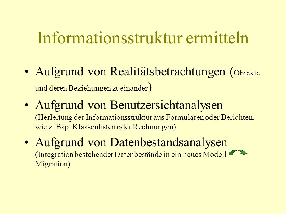 Informationsstruktur ermitteln