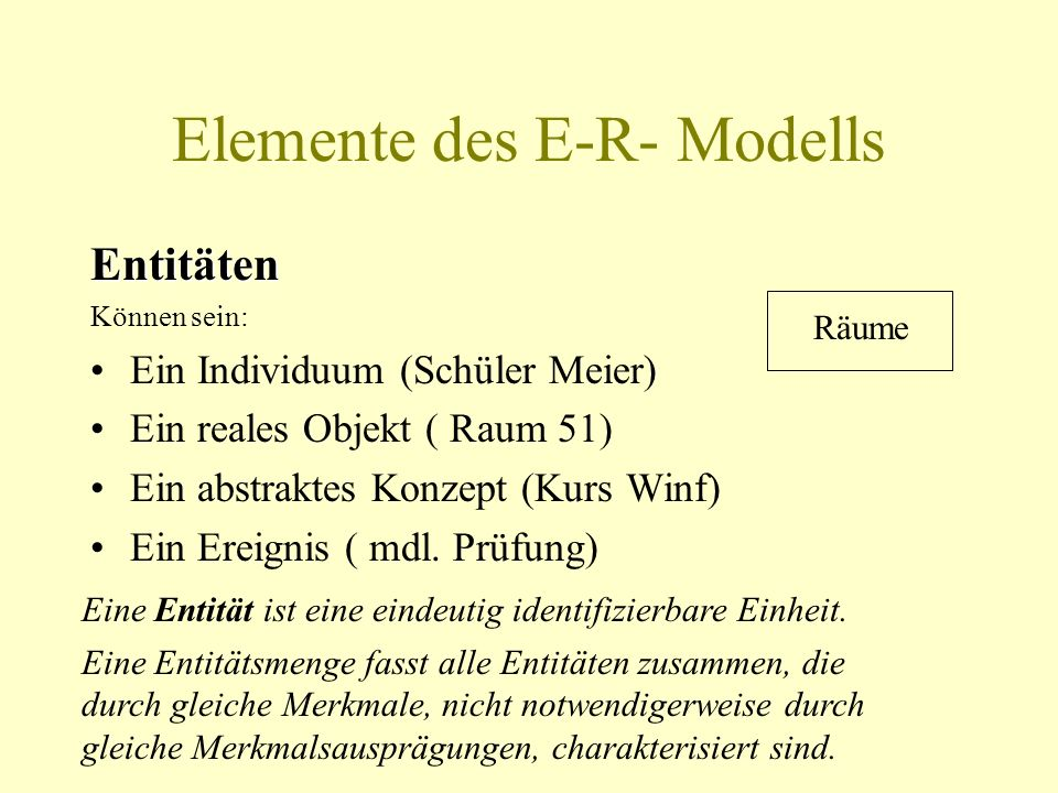 Elemente des E-R- Modells