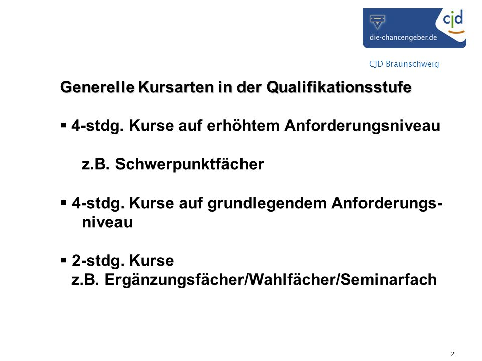 z.B. Ergänzungsfächer/Wahlfächer/Seminarfach