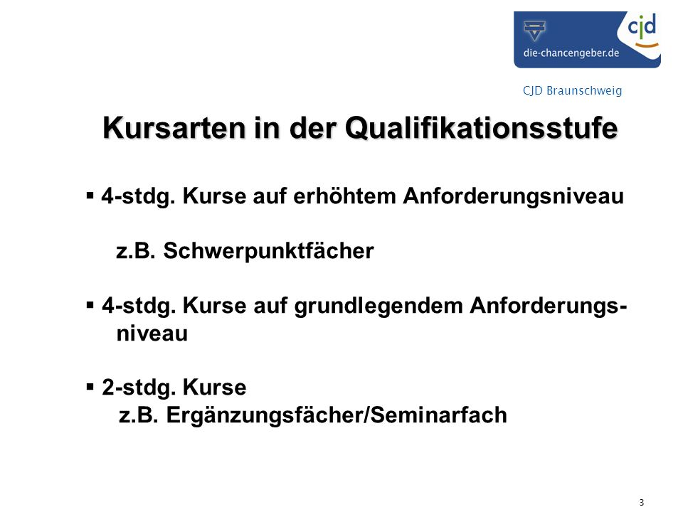 Kursarten in der Qualifikationsstufe