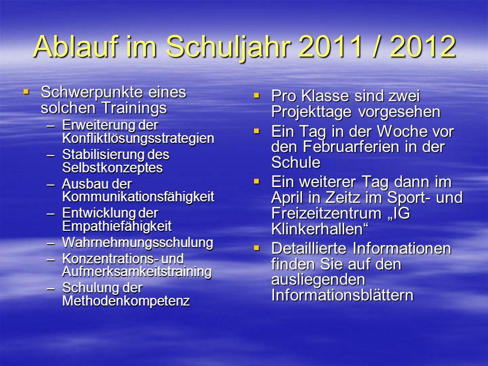 Ablauf im Schuljahr 2011 / 2012 Schwerpunkte eines solchen Trainings