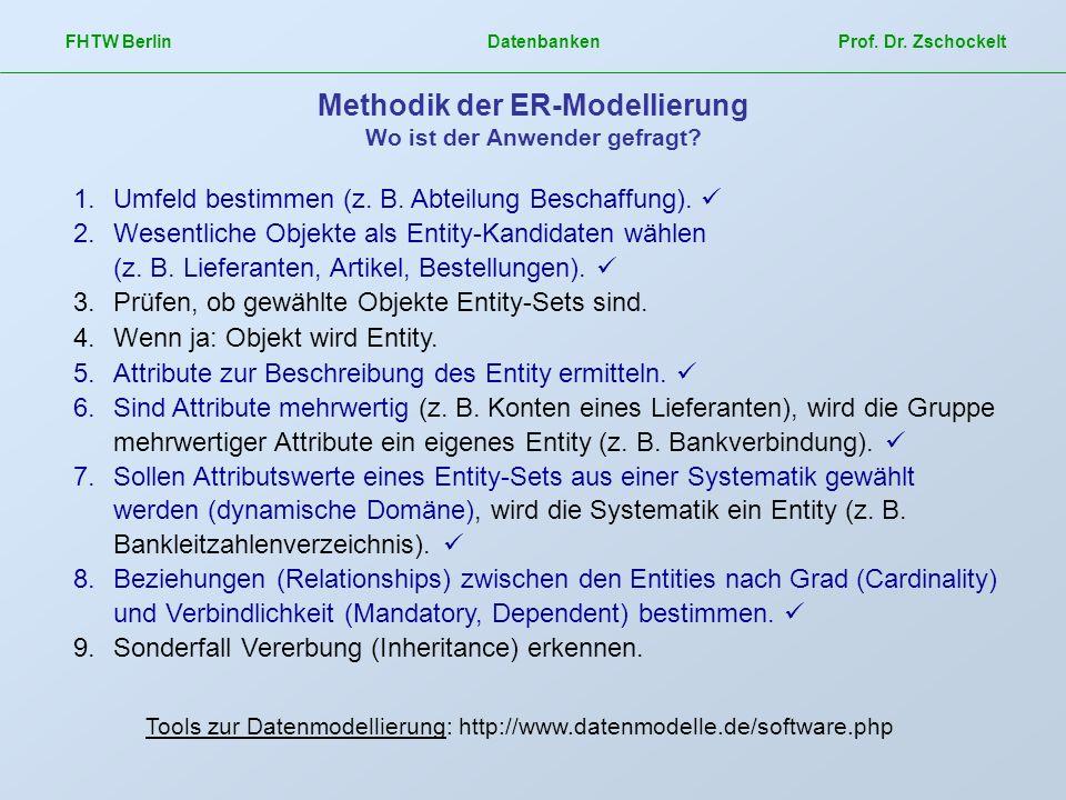 Methodik der ER-Modellierung Wo ist der Anwender gefragt