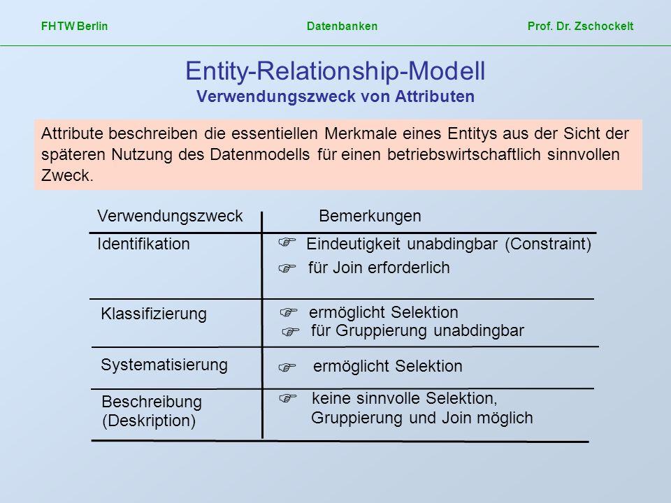 Entity-Relationship-Modell Verwendungszweck von Attributen