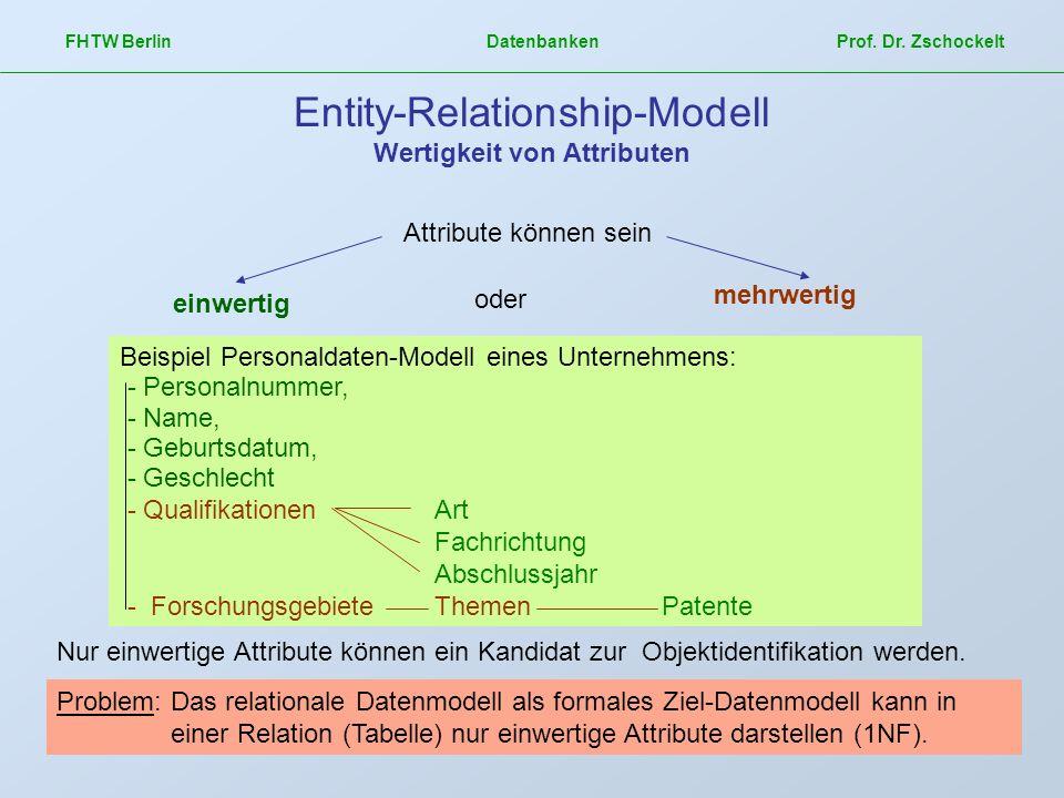 Entity-Relationship-Modell Wertigkeit von Attributen