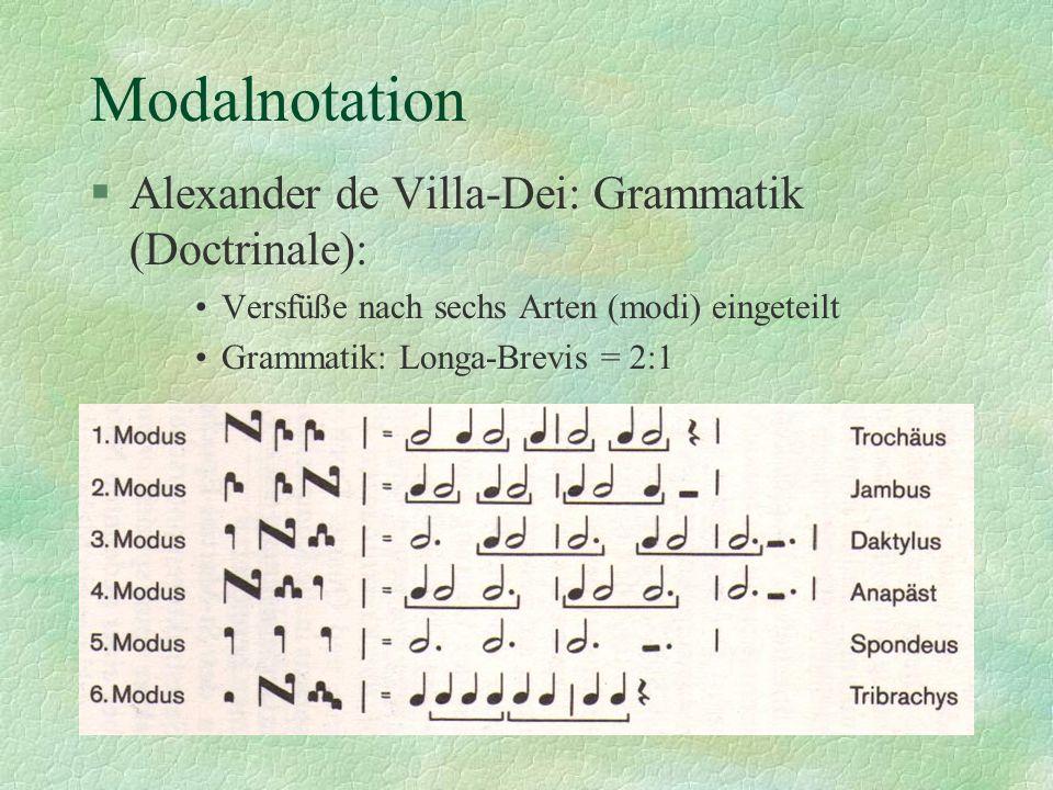 Modalnotation Alexander de Villa-Dei: Grammatik (Doctrinale):
