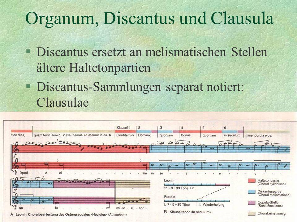 Organum, Discantus und Clausula