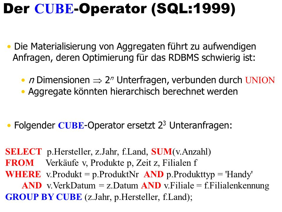Der CUBE-Operator (SQL:1999)