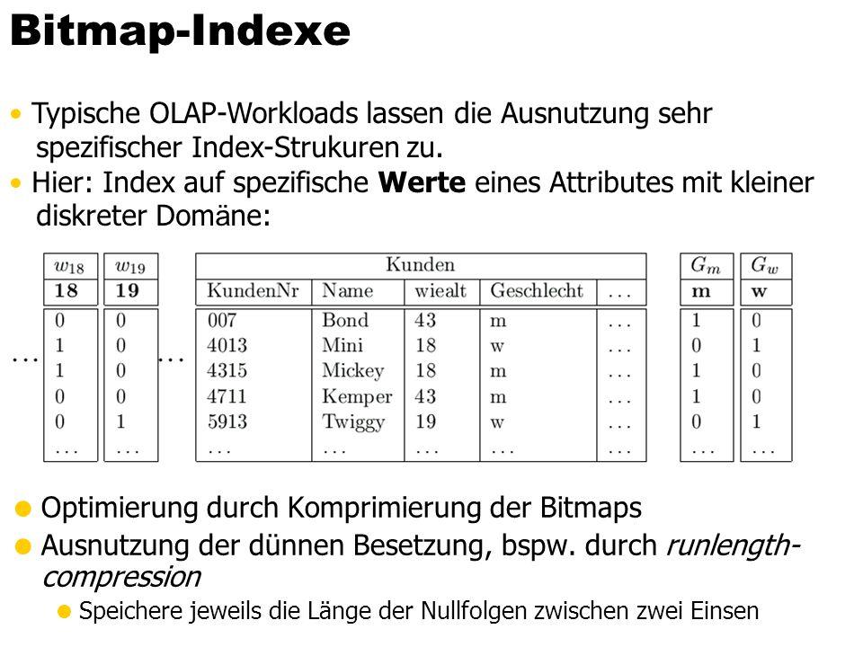 Bitmap-Indexe Typische OLAP-Workloads lassen die Ausnutzung sehr