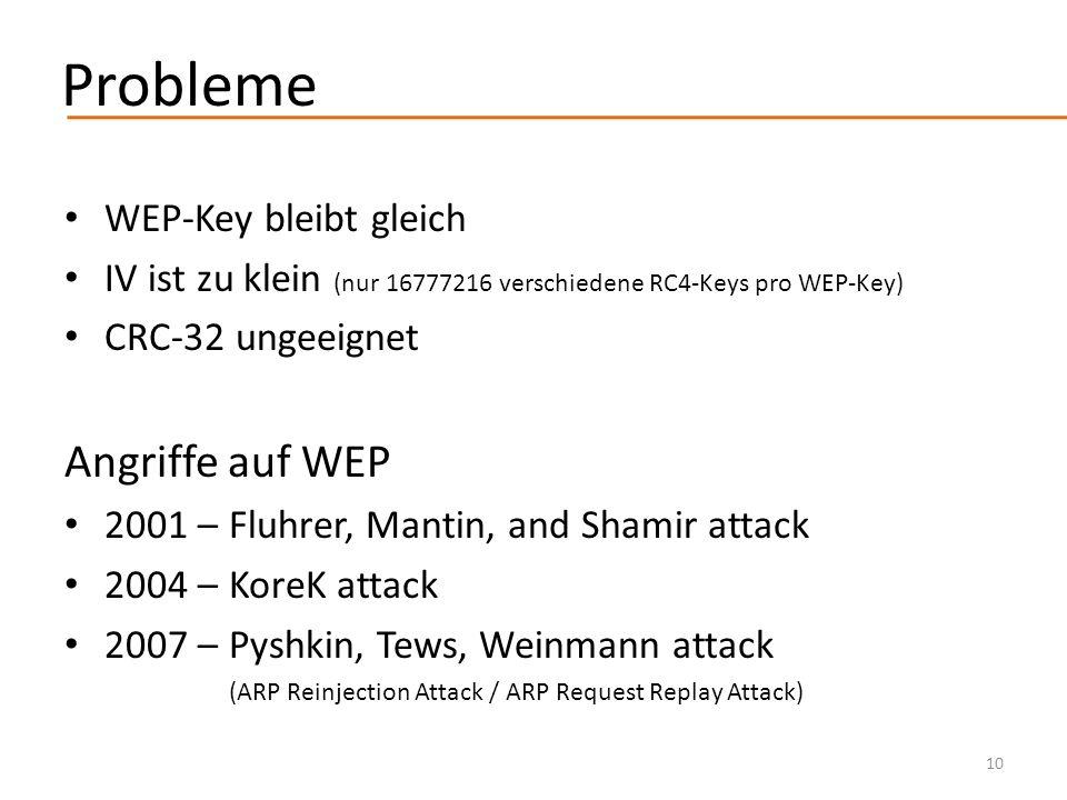 Probleme Angriffe auf WEP WEP-Key bleibt gleich
