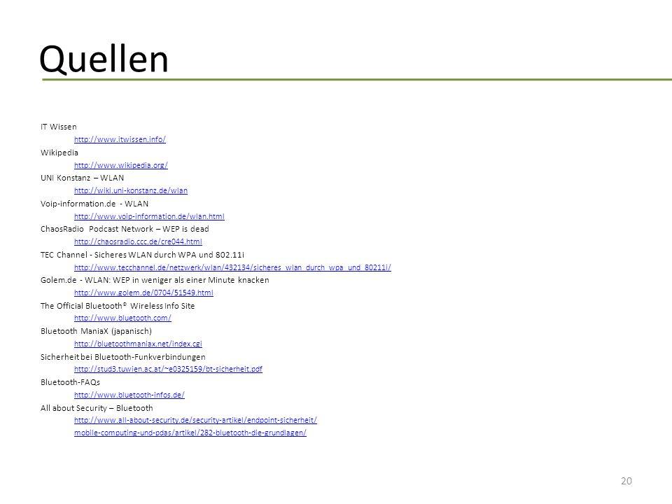 Quellen IT Wissen Wikipedia UNI Konstanz – WLAN