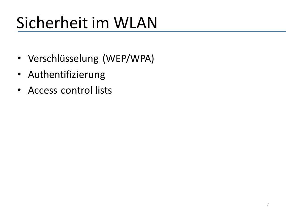 Sicherheit im WLAN Verschlüsselung (WEP/WPA) Authentifizierung