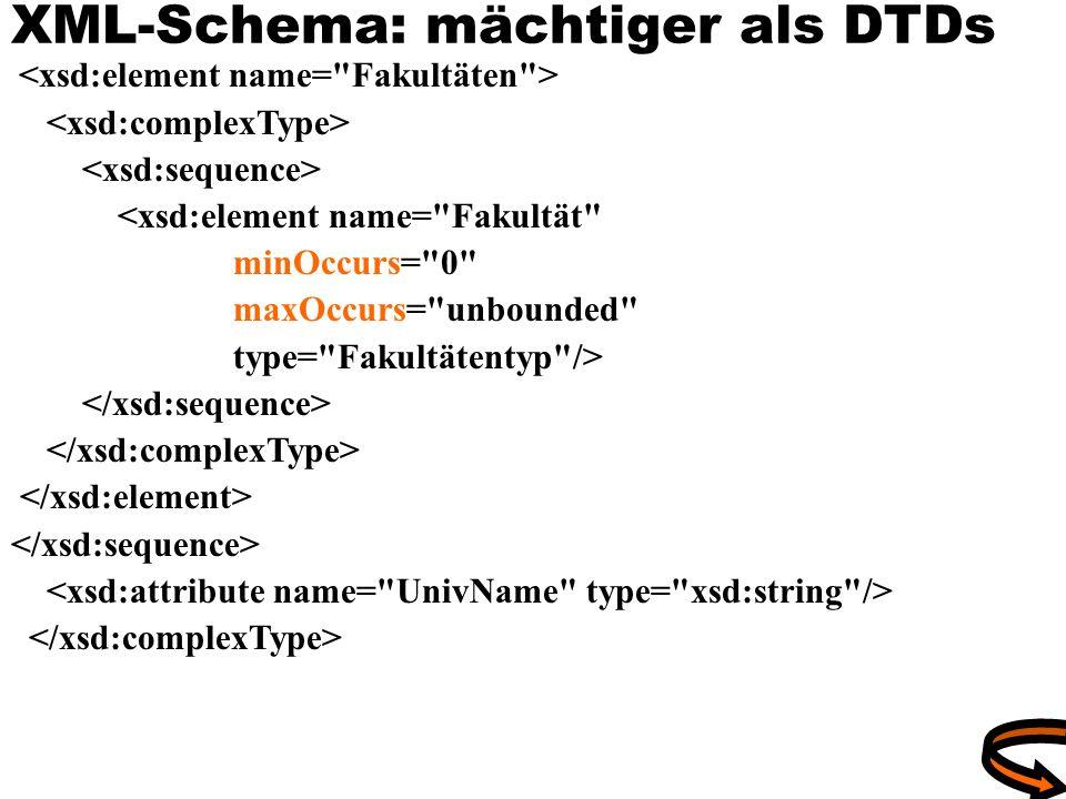 XML-Schema: mächtiger als DTDs