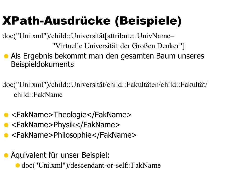 XPath-Ausdrücke (Beispiele)