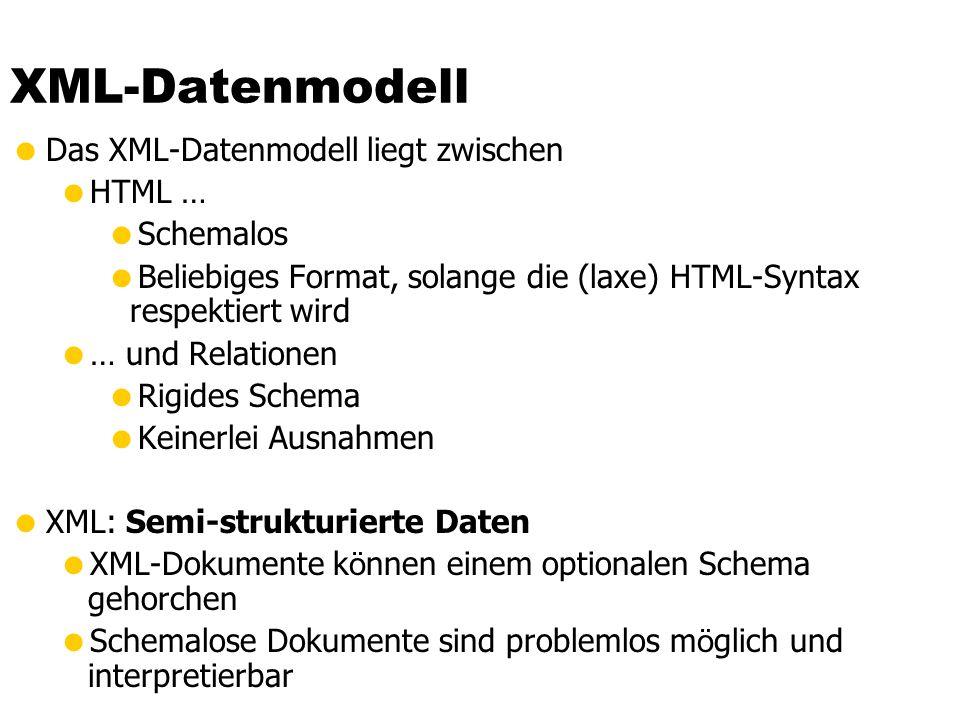 XML-Datenmodell Das XML-Datenmodell liegt zwischen HTML … Schemalos