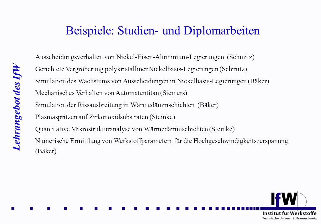 Beispiele: Studien- und Diplomarbeiten