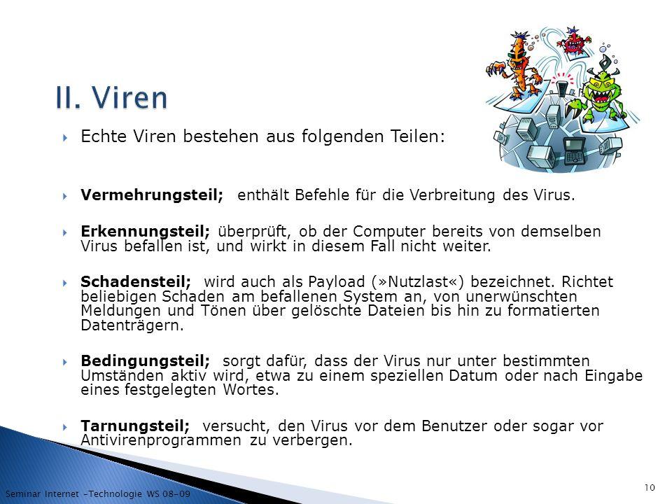 II. Viren Echte Viren bestehen aus folgenden Teilen: