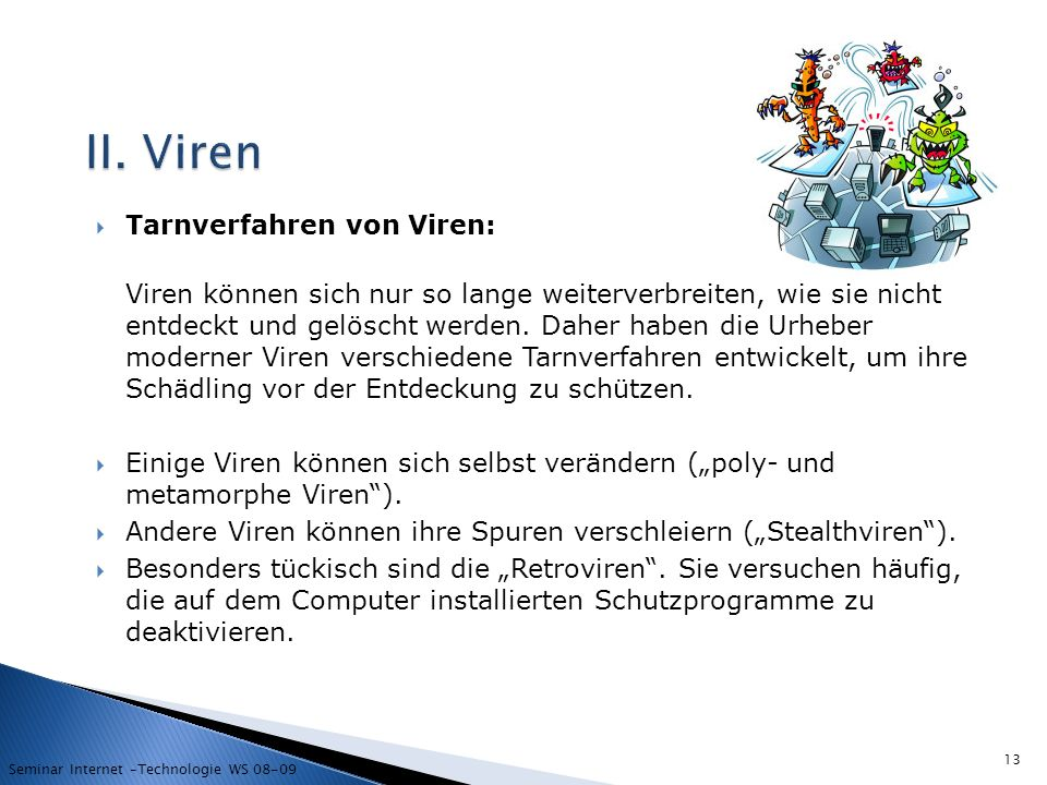 II. Viren Tarnverfahren von Viren: