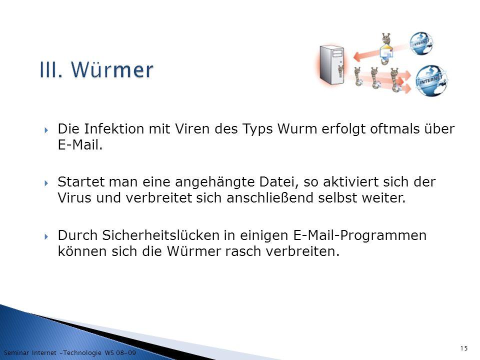 III. Würmer Die Infektion mit Viren des Typs Wurm erfolgt oftmals über E-Mail.