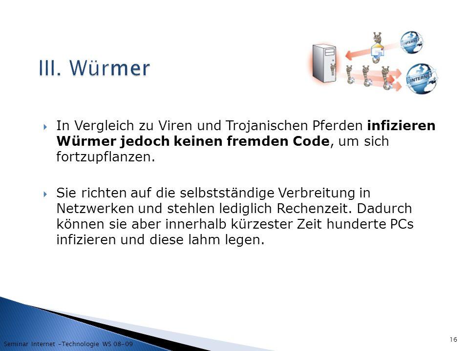 III. Würmer In Vergleich zu Viren und Trojanischen Pferden infizieren Würmer jedoch keinen fremden Code, um sich fortzupflanzen.