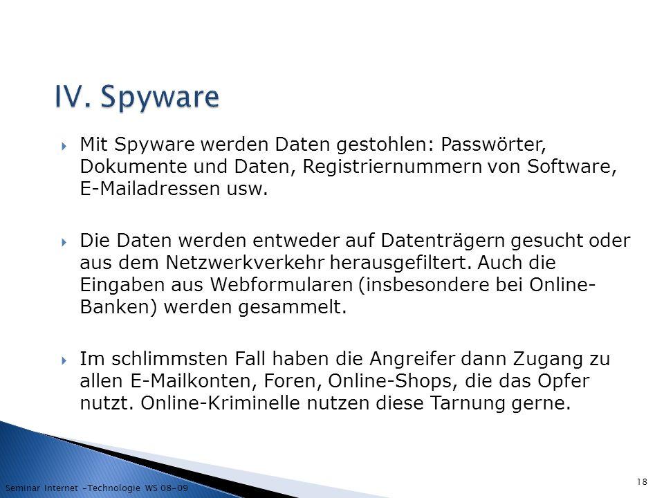IV. Spyware Mit Spyware werden Daten gestohlen: Passwörter, Dokumente und Daten, Registriernummern von Software, E-Mailadressen usw.