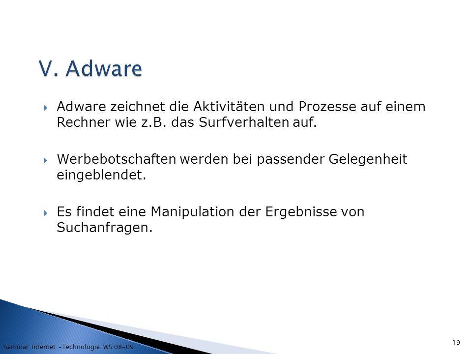 V. Adware Adware zeichnet die Aktivitäten und Prozesse auf einem Rechner wie z.B. das Surfverhalten auf.