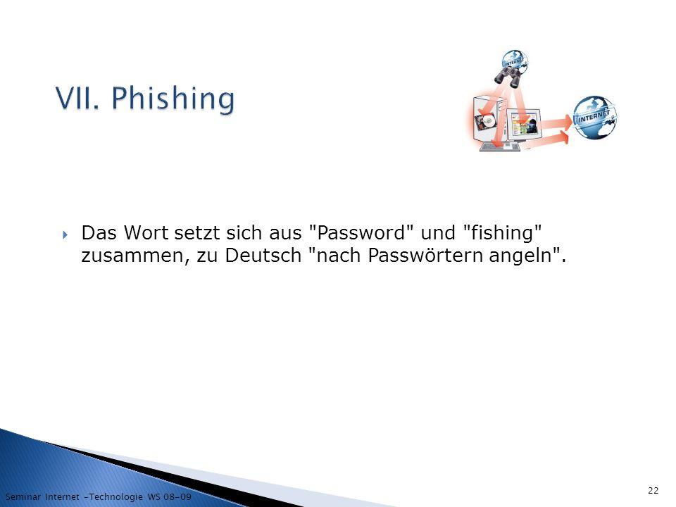 VII. Phishing Das Wort setzt sich aus Password und fishing zusammen, zu Deutsch nach Passwörtern angeln .