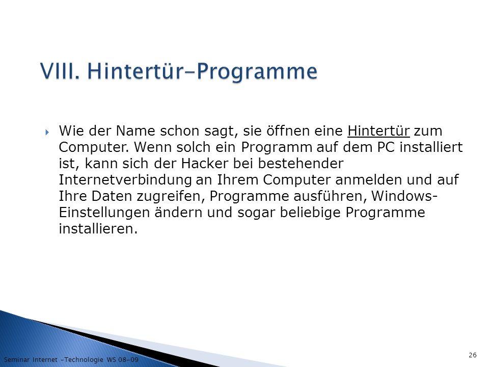 VIII. Hintertür-Programme