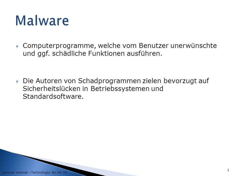 Malware Computerprogramme, welche vom Benutzer unerwünschte und ggf. schädliche Funktionen ausführen.