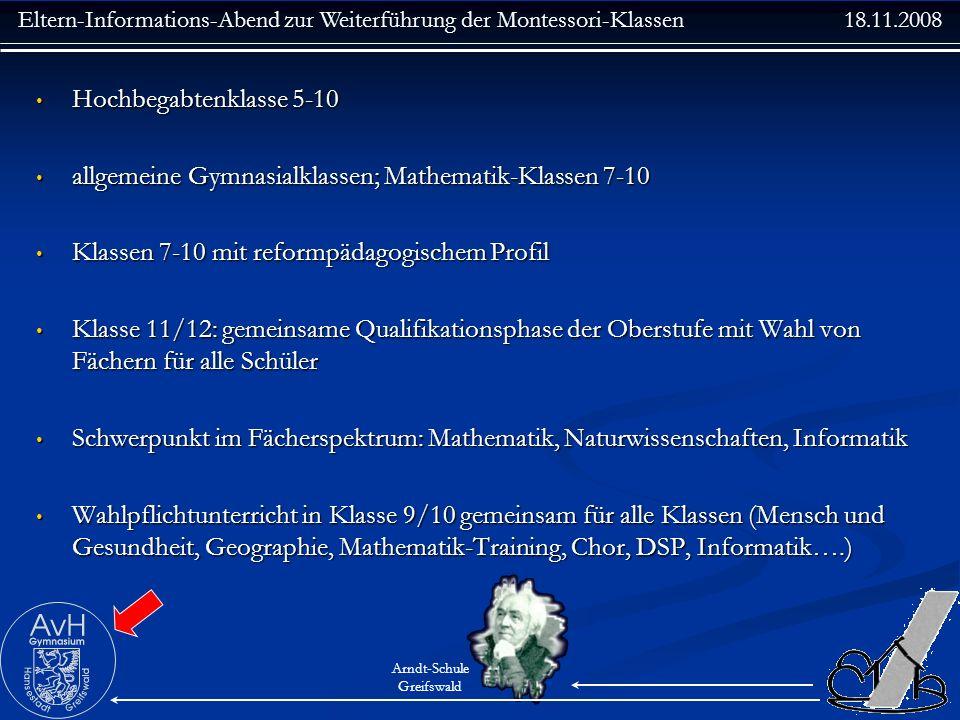 Hochbegabtenklasse 5-10 allgemeine Gymnasialklassen; Mathematik-Klassen 7-10. Klassen 7-10 mit reformpädagogischem Profil.