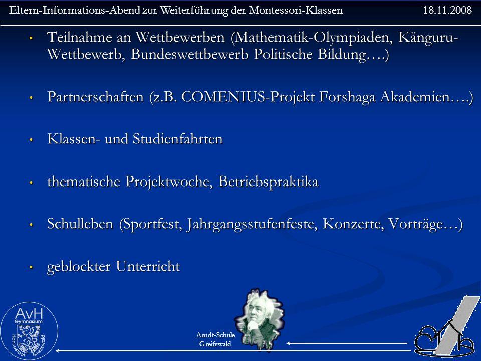 Teilnahme an Wettbewerben (Mathematik-Olympiaden, Känguru-Wettbewerb, Bundeswettbewerb Politische Bildung….)